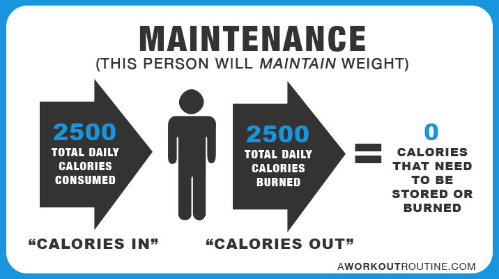 Maintenance: This person will maintain weight.